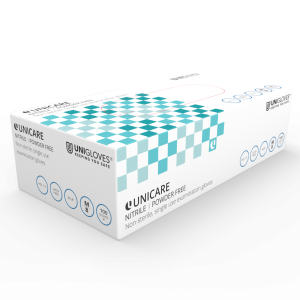 Unicare Nitrile – Powder-Free Medical Examination Gloves – Cases of 10 Boxes, 100 Gloves per Box